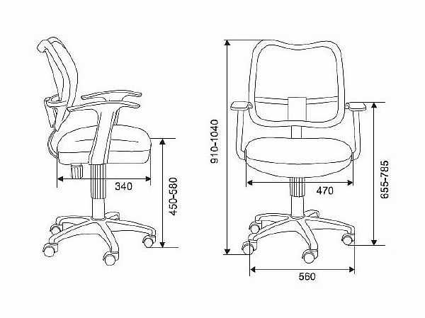 Габариты кресла